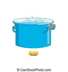 azul, pote, cozinhar, fire., água, ferver, cookware, alimento.