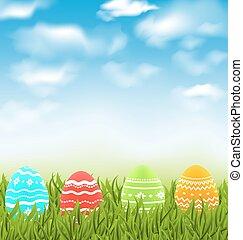 azul, pradera, natural, colorido, huevos, cielo, tradicional, nubes, pasto o césped, pascua, paisaje