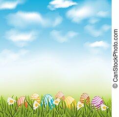 azul, pradera, natural, pintado, huevos, cielo, tradicional, nubes, pasto o césped, pascua, paisaje
