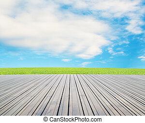 azul, pradera, piso, cielo, madera, nube