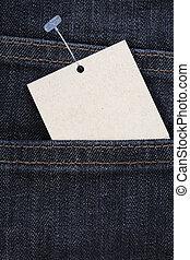 azul, preço, calças brim, tag papel, em branco