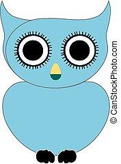 azul, presa, pássaro, owl-