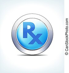azul, prescrição farmacêutica, rx, &, botão, receita,...