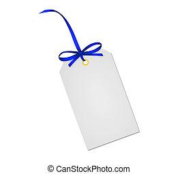 azul, presente, isolado, arco, nota, fita, fundo, branca, cartão
