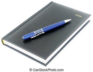 azul, pretas, caneta, diário