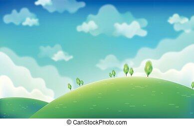azul, primavera, eps10., cielo, day., verde, campos, vector