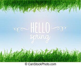 azul, primavera, folhas, céu, tipografia, olá, palavras, grama verde, composição