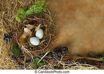 azul, primavera, ovos, borda