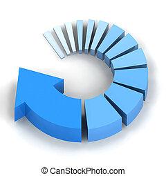azul, proceso, flecha