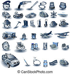 azul, profesional, trabajo, iconos