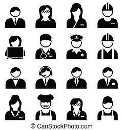 azul, profissionais, trabalhadores, colarinho branco