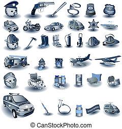 azul, profissional, trabalho, ícones