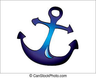 azul, profundo, âncora, ilustração