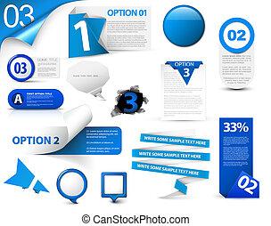 azul, progreso, conjunto, vector, iconos