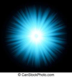 azul, projeto cor, com, um, burst., vetorial