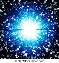 azul, projeto cor, fundo, com, um, brilhar, burst.