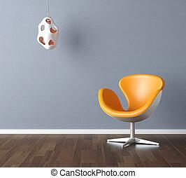 azul, projeto interior, cena, amarela
