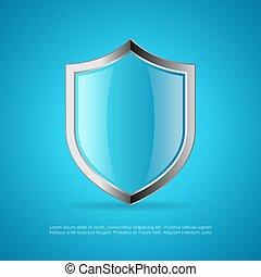 azul, proteção, escudo, vetorial, ícone