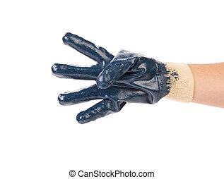 azul, protector, glove.