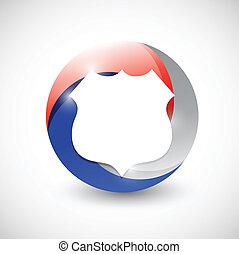 azul, protector, ilustración, diseño, rojo blanco