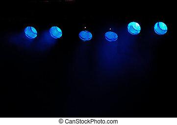 azul, proyectores
