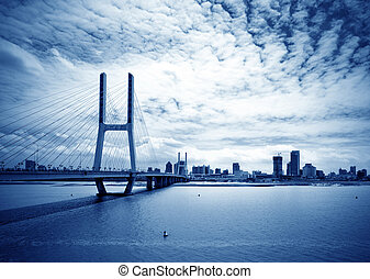 azul, puente, cielo, debajo