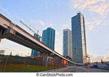 azul, puente, edificios, financiero, florida, verano, miami...