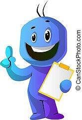 azul, pulgar, bloc, arriba, ilustración, vector, plano de...