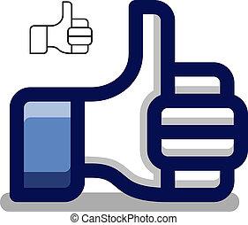 azul, pulgar, símbolo, arriba, mano, vector