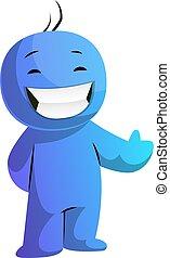 azul, pulgar up, ilustración, caricatura, vector, plano de ...