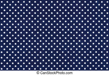 azul, puntos, tela, polca, oscuridad, blanco