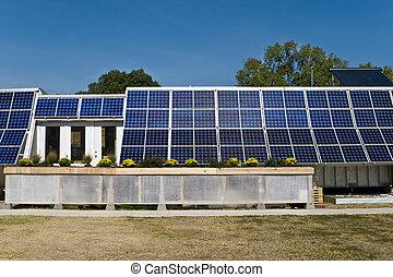 azul, pv, cielo, solar, hogar, serie, montado, panel