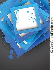 azul, quadrados, grunge, fundo