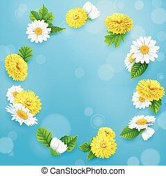 azul, quadro, céu, fundo, flores, redondo