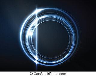 azul, quadro, circular