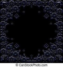 azul, quadro, escuro, experiência preta, floral