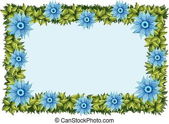 azul, quadro, flores, modelo