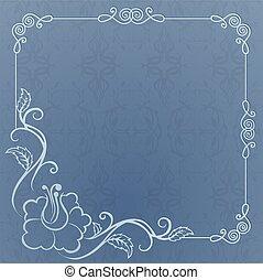 azul, quadro, fundo