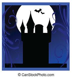 azul, quadro, ilustração, vetorial, morcegos, castelo