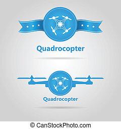azul, quadrocopter, cima, dos, vector, señales, vista