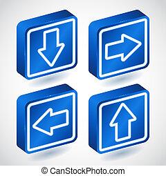 azul, quatro, jogo, setas, botões, mais claro