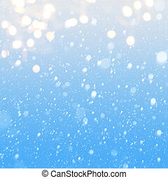 azul, queda, arte, neve, fundo