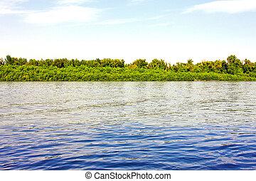 azul, río