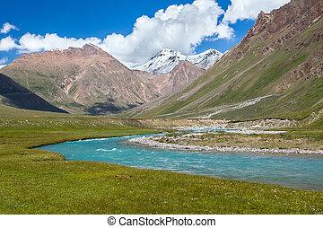 azul, río, y, nieve, picos, de, tien, shan, montañas