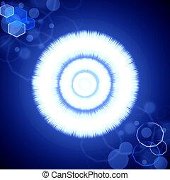 azul, radiance, chama, abstratos, lente, fundo