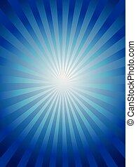 azul, raio sol, fundo, brilhar