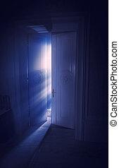 azul, raios luz, atrás de, a, porta