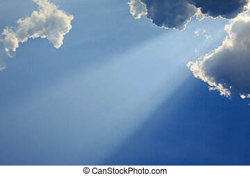 azul, raios, luz, céu claro, deus