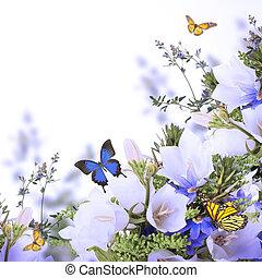 azul, ramo, fondo blanco, campanas
