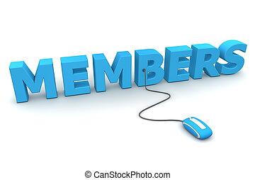 azul, ramonear, ratón, -, miembros